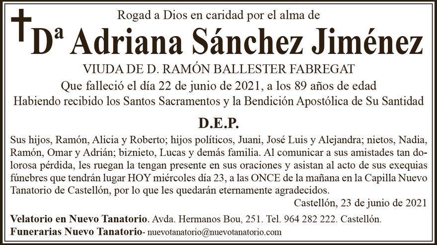 Dª Adriana Sánchez Jiménez