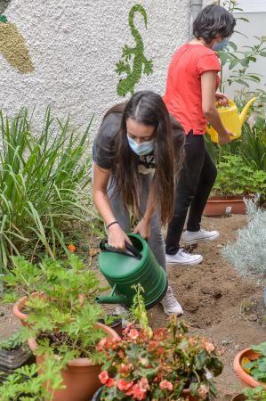 Estudiantes que se encargan del huerto escolar del IES Simón Pérez