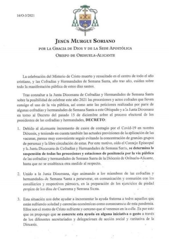 El Obispado cancela las procesiones en toda la Diócesis por el aumento de los casos de coronavirus