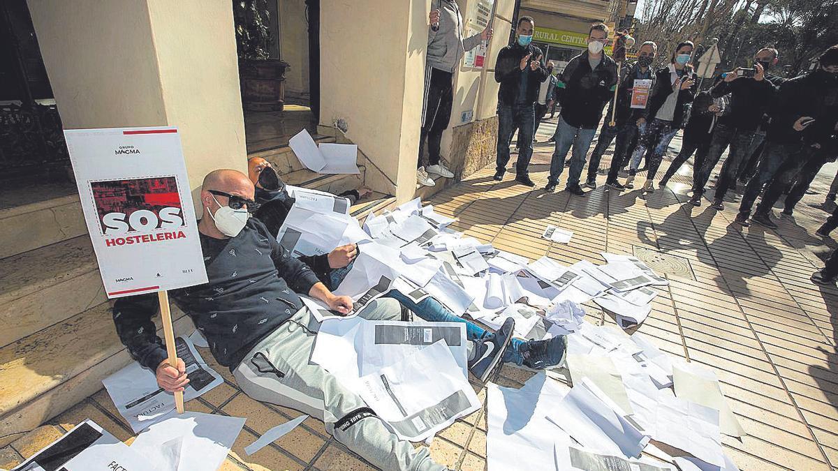 Protesta de la hostelería el jueves en Alicante.