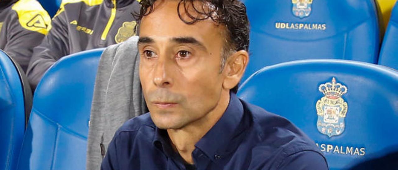 Paquito Ortiz, entrenador de la UD, el domingo en el Gran Canaria.
