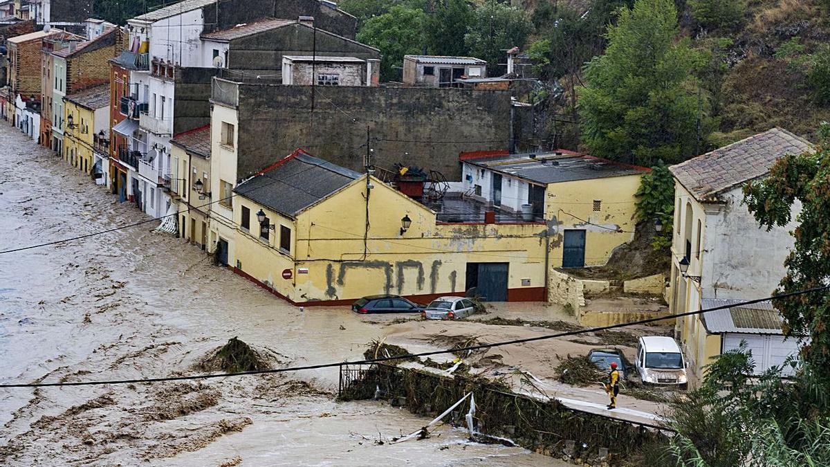 Inundación de la zona más próxima al río del barrio de Cantereria, en septiembre de 2019.