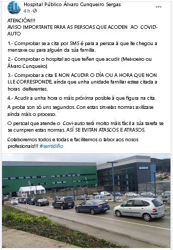 El perfil de Facebook del Álvaro Cunqueiro compartió estas directrices para acudir a las citas de Auto Covid.