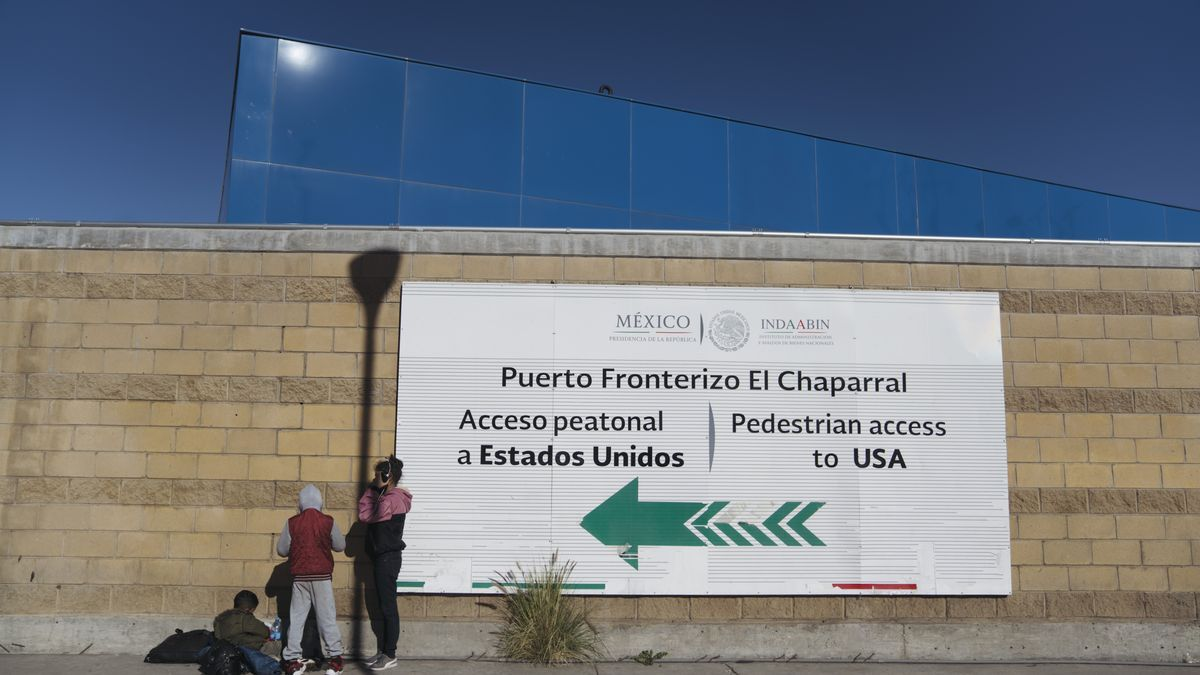 The border post between Mexico and the United States
