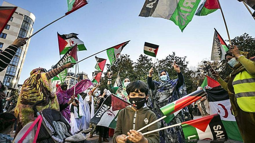 La comunidad saharaui se concentra en la Escandalera para reclamar un referéndum