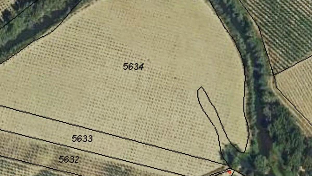 Finca 5634 en la que se observa el dibujo del entrante de la manga fluvial, según los técnicos.