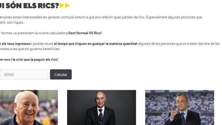 La CUP llança un web per calcular el temps que triguen grans empresaris a guanyar el teu sou