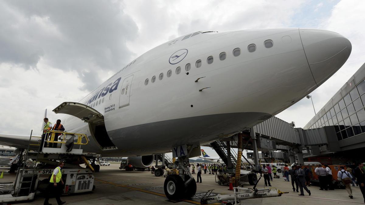 Un Boeing 747-8 de Lufthansa con el que volará a Mallorca.