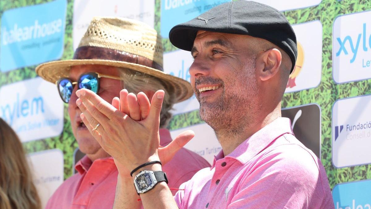 Guardiola, en la presentación del torneo de golf que se celebra en el club de Pula (Mallorca).