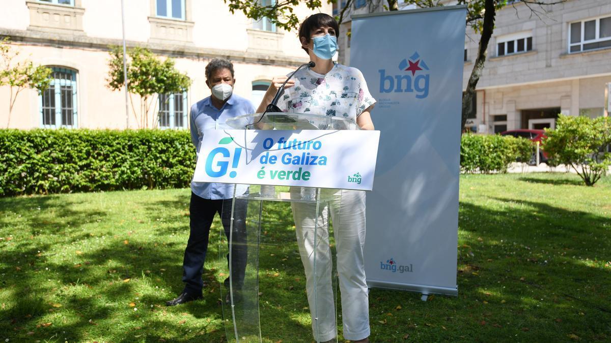 Ana Pontón, en la comparecencia de esta mañana con el alcalde de Pontevedra/ Gustavo Santos
