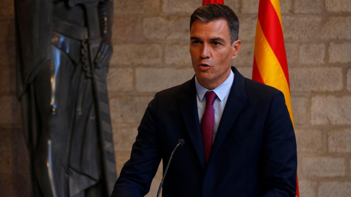 El president del govern espanyol, Pedro Sánchez, en roda de premsa al Palau de la Generalitat. Imatge del 15 de setembre de 2021. (Horitzontal)
