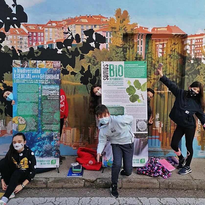 Varios alumnos, junto a los carteles de la exposición.