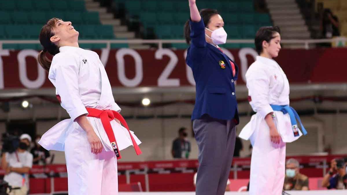 Sandra Sánchez, en el momento de conocer que era campeona olímpica.
