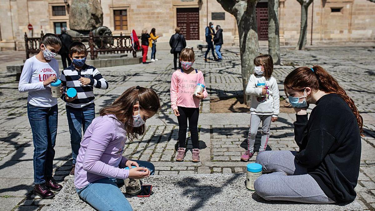 El grupo de niños y niñas con sus cámaras estenopeicas realizando fotos.
