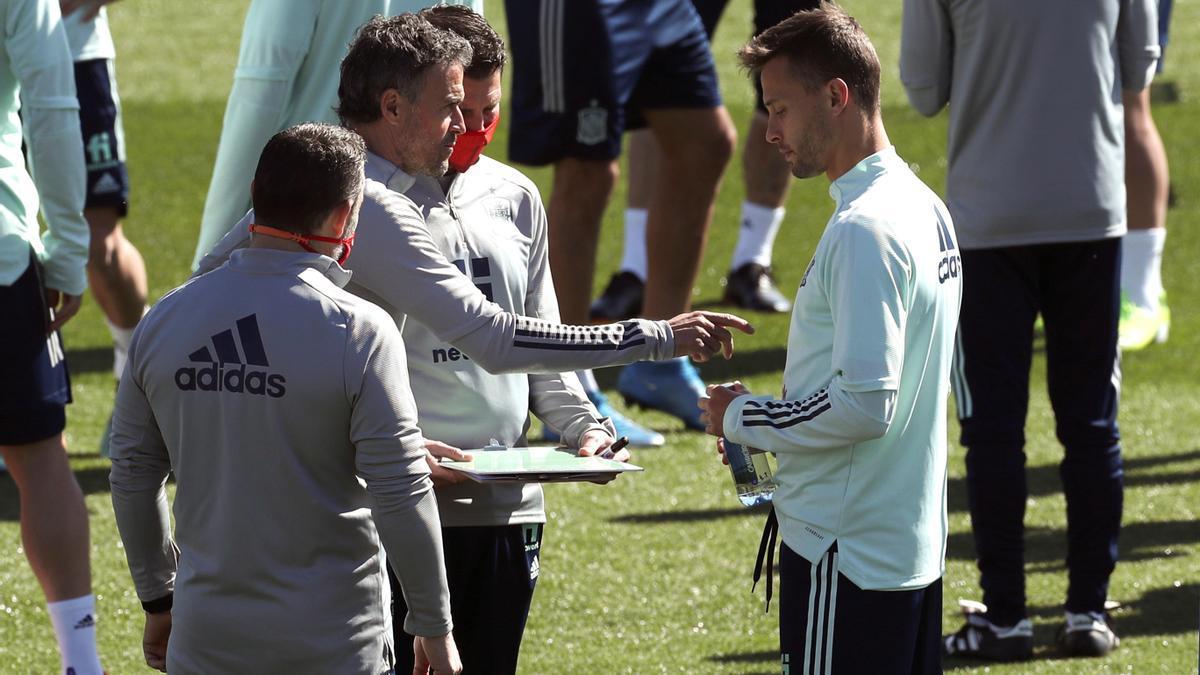 Entrenamiento de la selección española para preparar su encuentro ante Grecia.