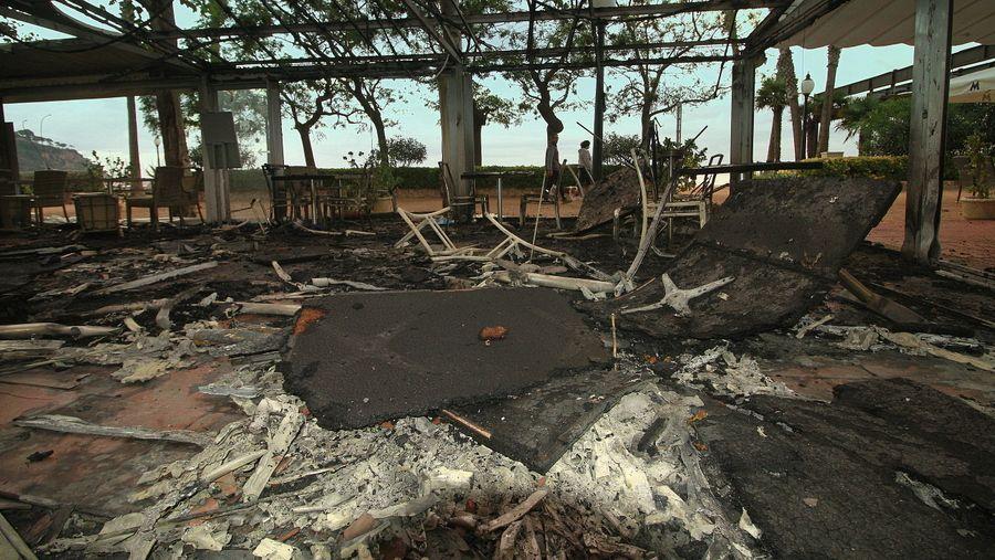 Crema la terrassa d'un restaurant de Blanes