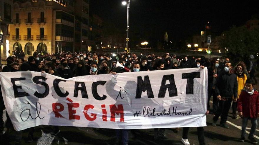 Nova manifestació per l'empresonament de Pablo Hasél a Girona