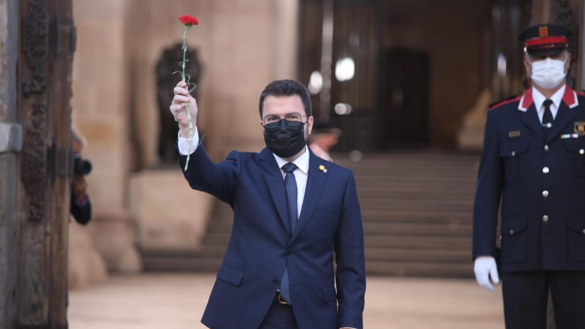 El President de la Generalitat al Pati dels Tarongers