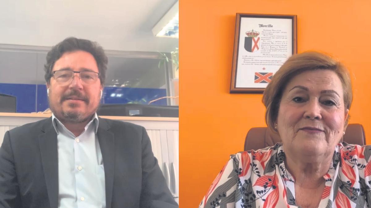 Santamaría y Sánchez, durante la reunión telemática.
