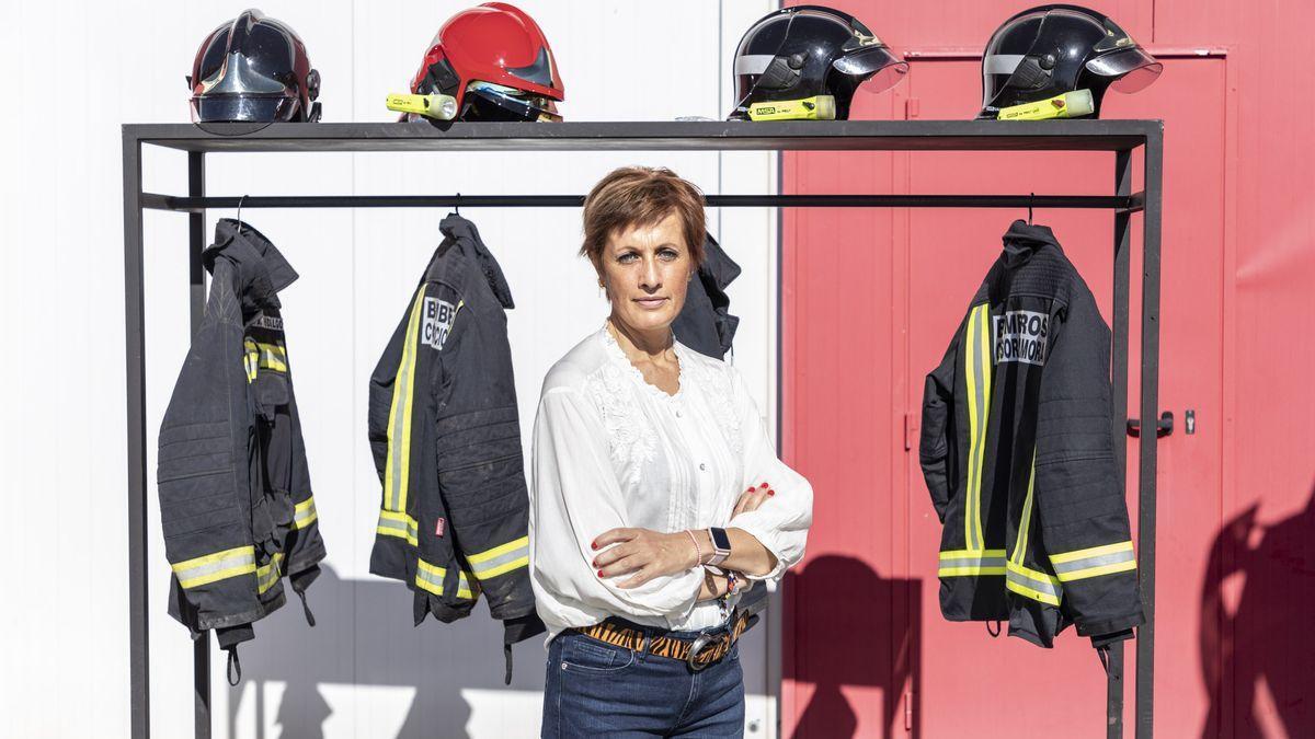 Ana Mayor, en el parque de bomberos de Bermillo de Sayago.