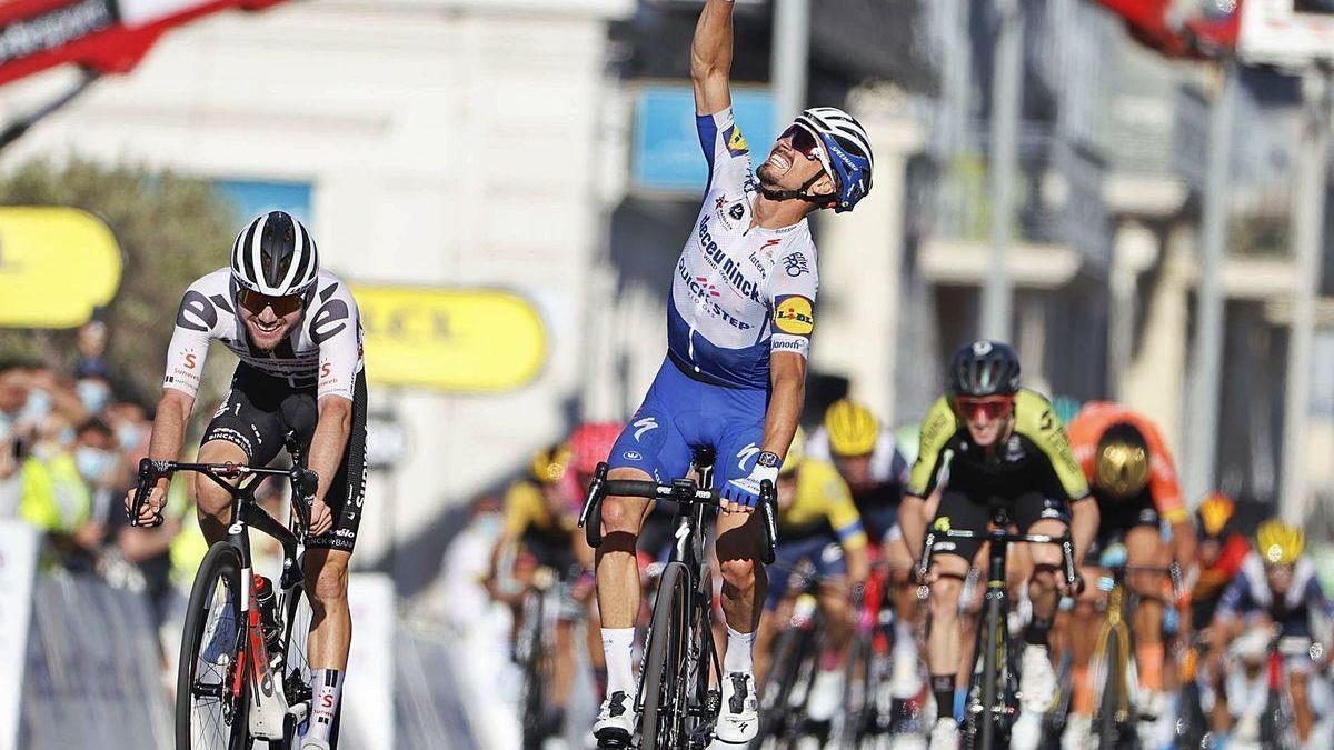 Kristoff celebra su victoria en el Paseo de los Ingleses de Niza.