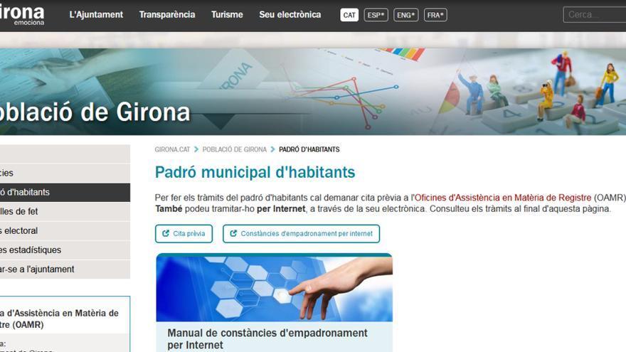 Girona crea una web per fer tots els tràmits del padró i gestionar casaments, parelles de fet i el cens electoral