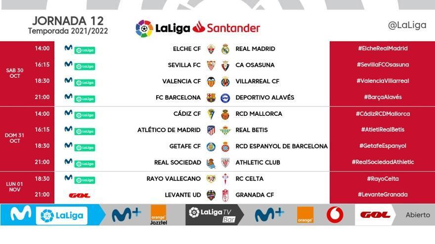 El Elche-Real Madrid se jugará el sábado 30 de octubre, a las dos de la tarde