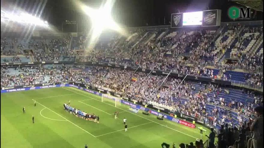 Así despedía la afición del Málaga CF a plantilla y cuerpo técnico tras caer ante el Deportivo