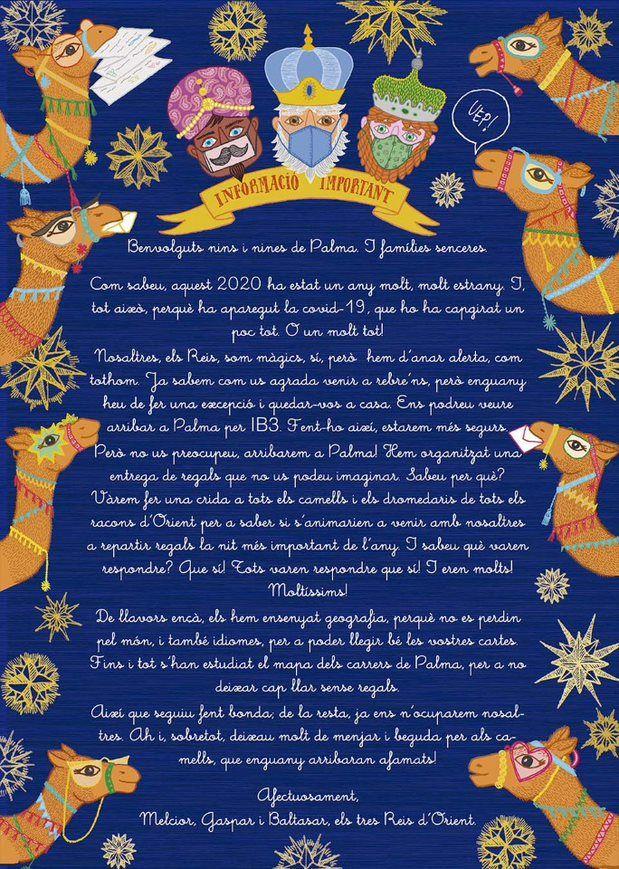 Carta de los Reyes Magos a los niños y niñas de Palma