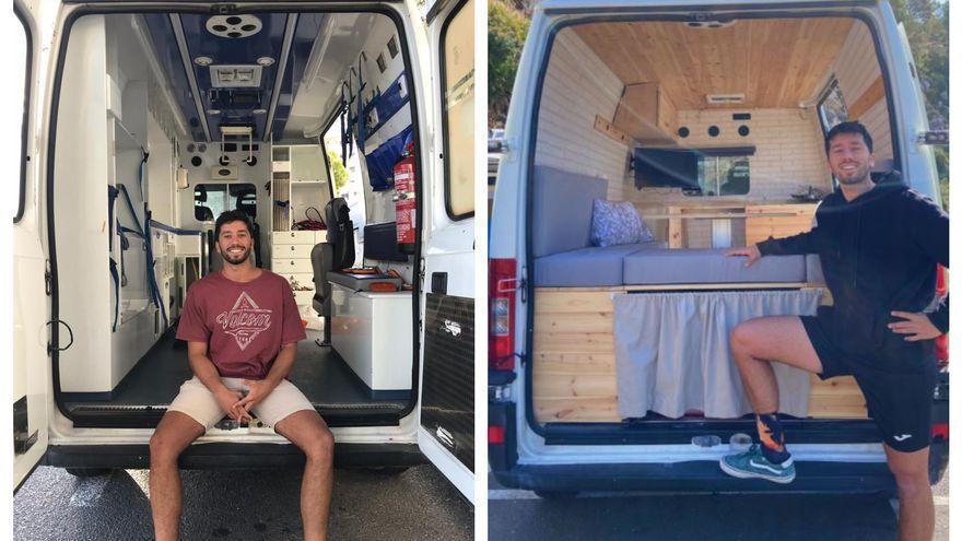 La ambulancia convertida en camper por un valenciano que se ha hecho viral en redes sociales