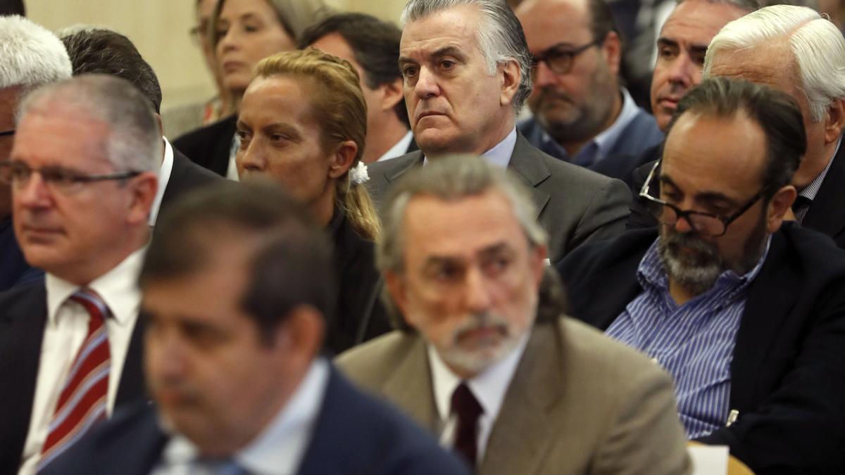 Luis Bárcenas, Francisco Correa y Pablo Crespo en el juicio por Gürtel.