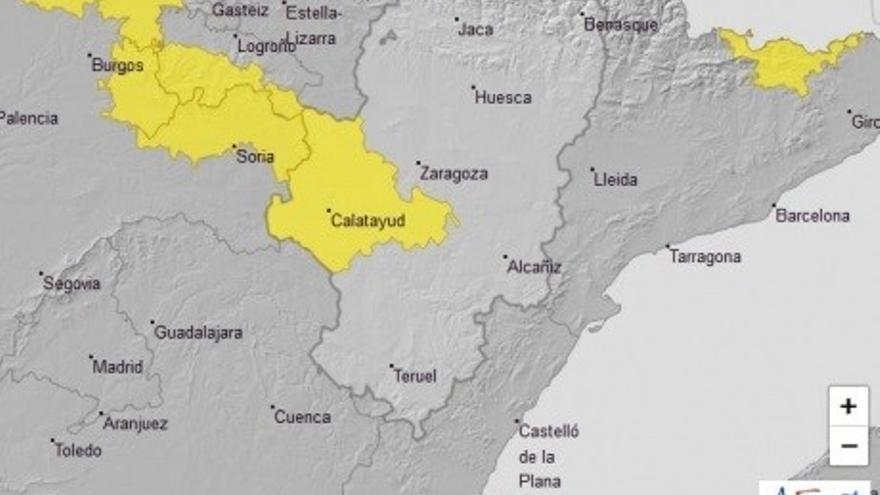Ampliado el aviso amarillo por tormentas en la Ibérica zaragozana y el valle del Ebro