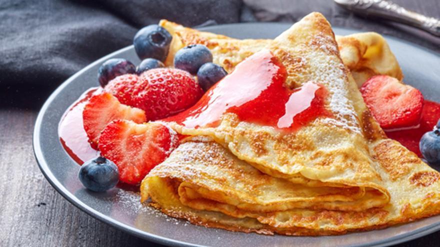 Crepes de fruta y mermelada