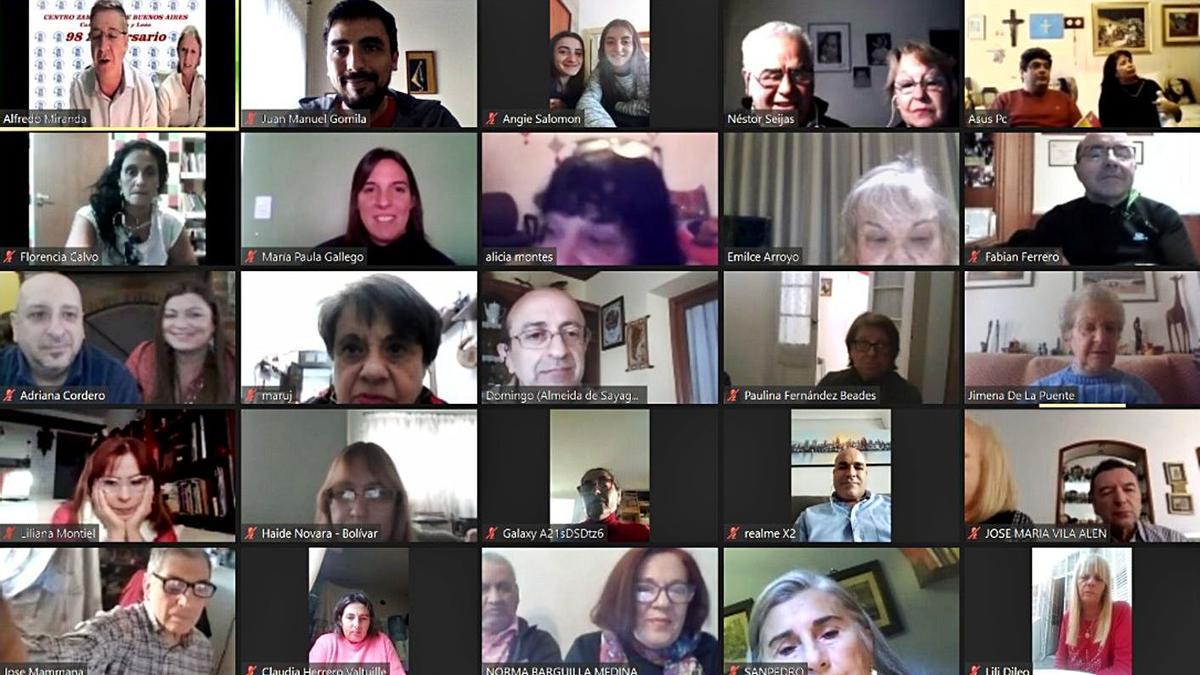 Reunión virtual del Centro Zamorano de Buenos Aires para celebrar su 98 aniversario.