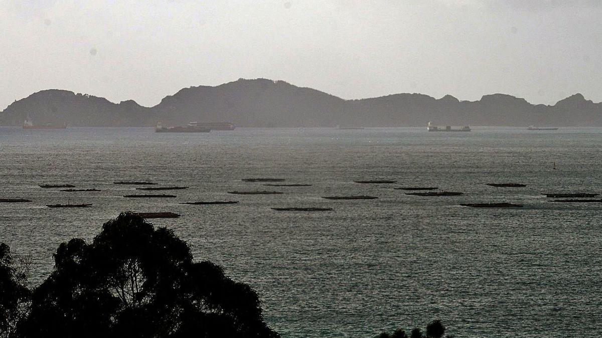 Cargueros fondeados ayer por la mañana al abrigo de las islas Cíes. |   // GONZALO NÚÑEZ