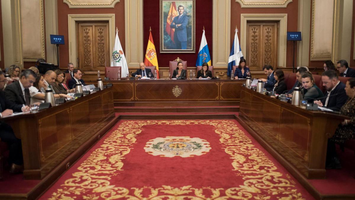 Pleno municipal de finales de febrero, el último celebrado en el Consistorio capitalino.