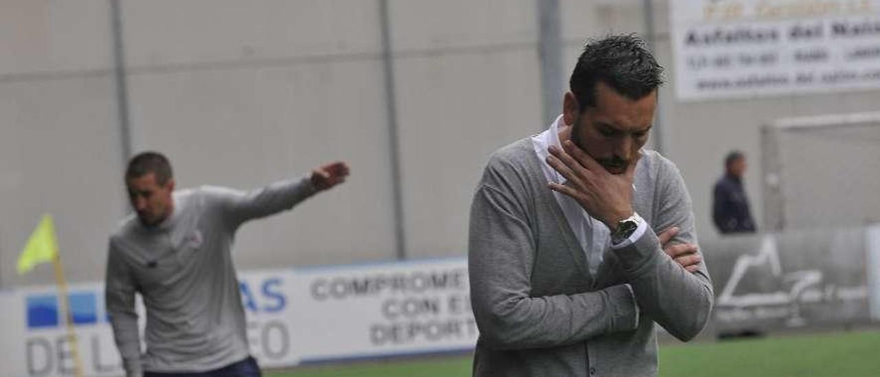 Solabarrieta y Hernán, que no seguirán en sus clubes, en el Langreo-Bilbao Athletic de esta campaña.