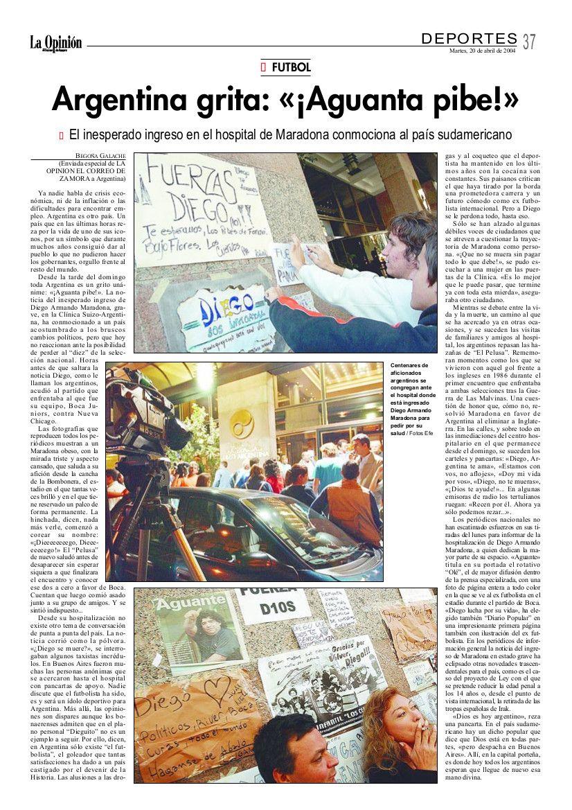"""Reportaje """"Argentina grita: """"Aguanta pibe"""""""", en La Opinión de Zamora"""