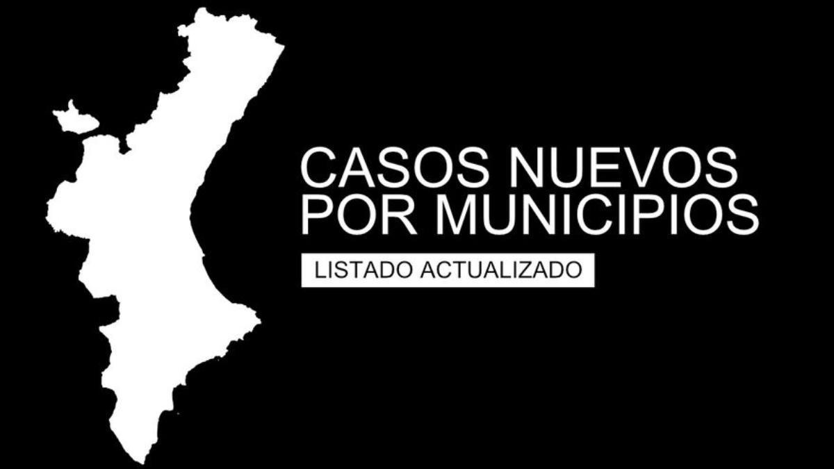 Casos nuevos por municipios en las provincias de Alicante, Valencia y Castellón.