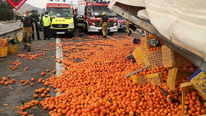 Atasco de ocho kilómetros en Novelda y cientos de kilos de naranjas en la A-31