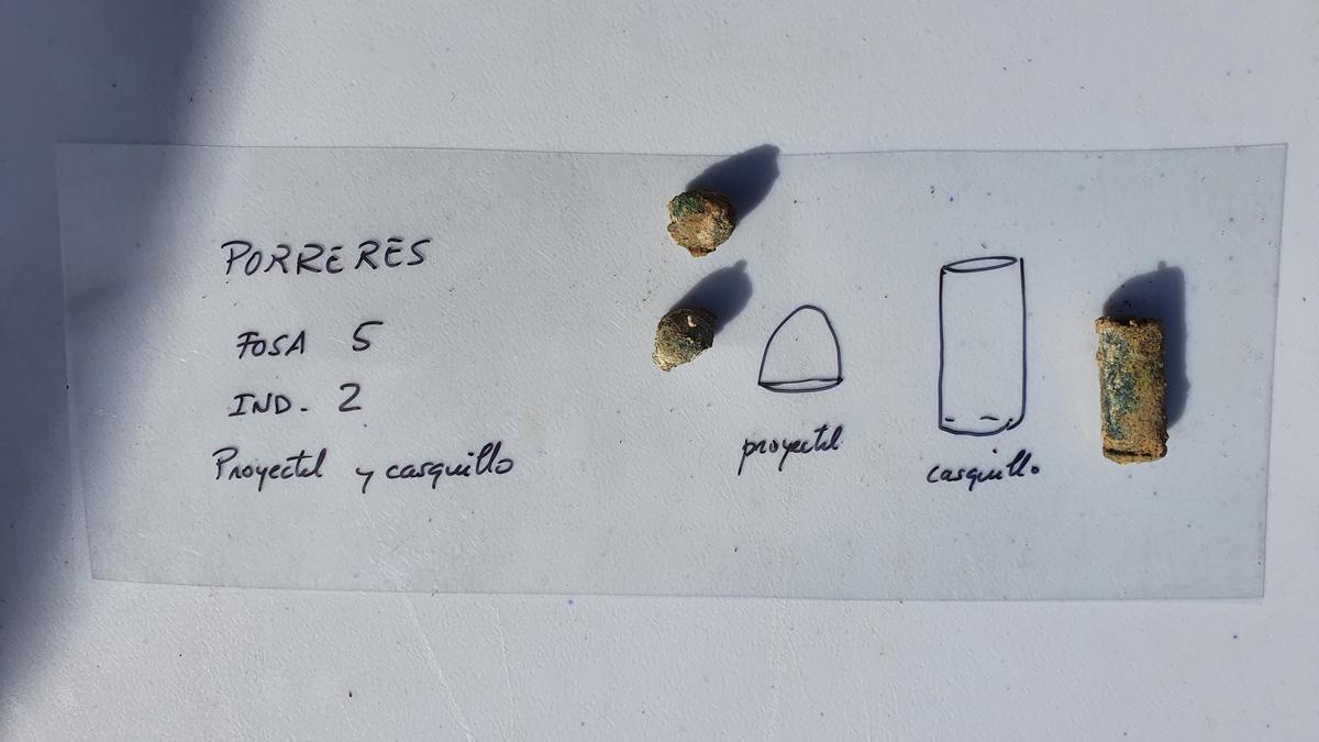 Casquillos y proyectiles recuperados en el cementerio de Porreres.