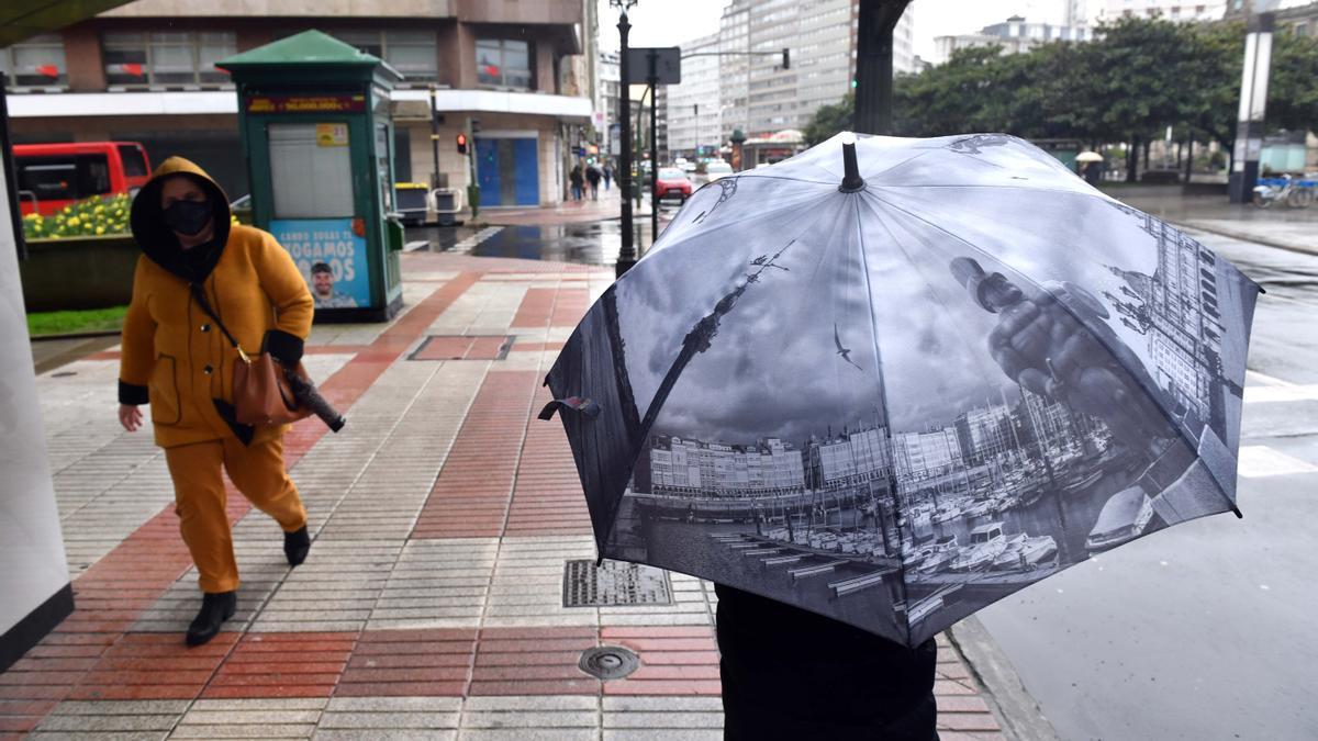 Jornada lluviosa en A Coruña.