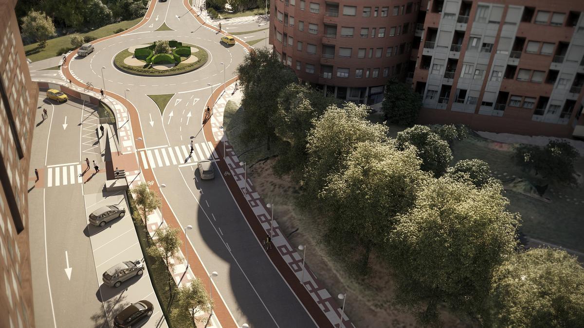 Recreación de la futura rotonda de acceso a La Pola