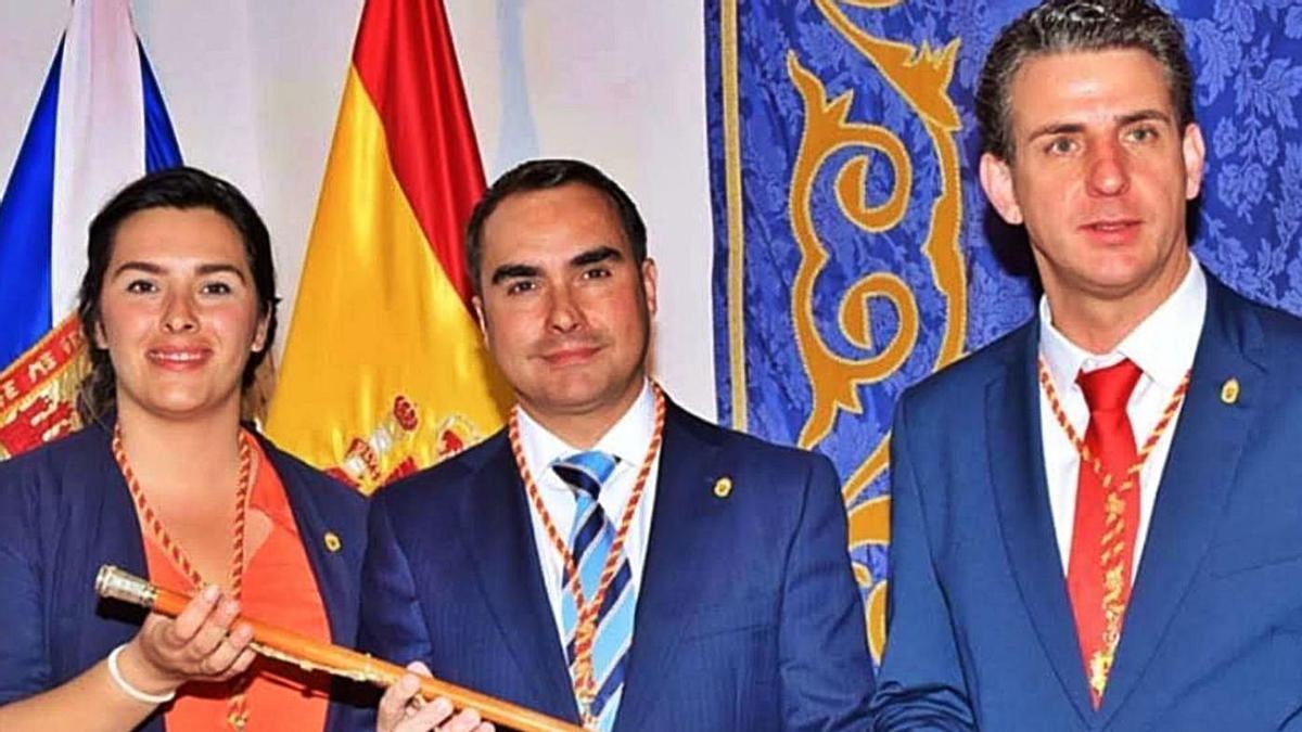 Violeta Moreno (SSP), José Daniel Díaz (NC) y Carlos Medina (PSOE), en junio de 2019.