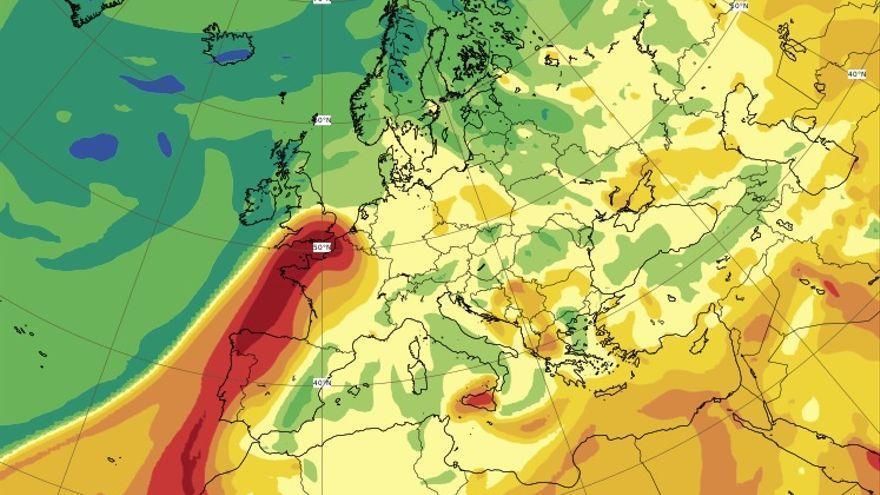 La columna de dióxido de azufre del volcán de La Palma está sobre Galicia y Portugal