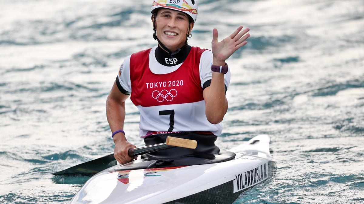 Núria Vilarrubla, just després de completar la baixada al canal olímpic