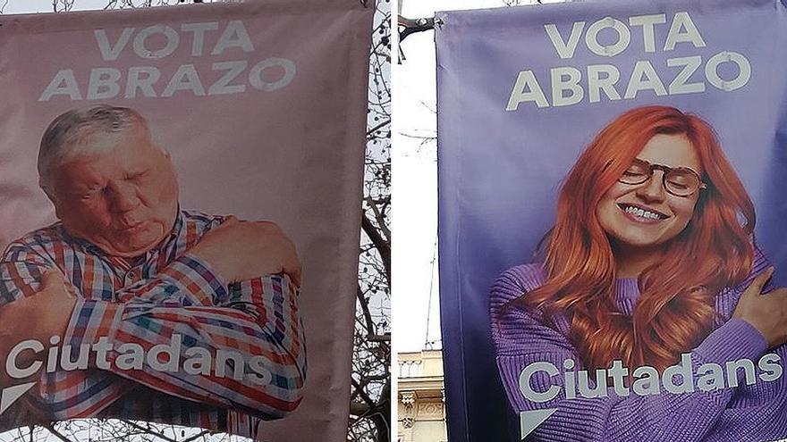 Cs retira la cartelería de su polémica campaña en Cataluña 'Vota abrazo'