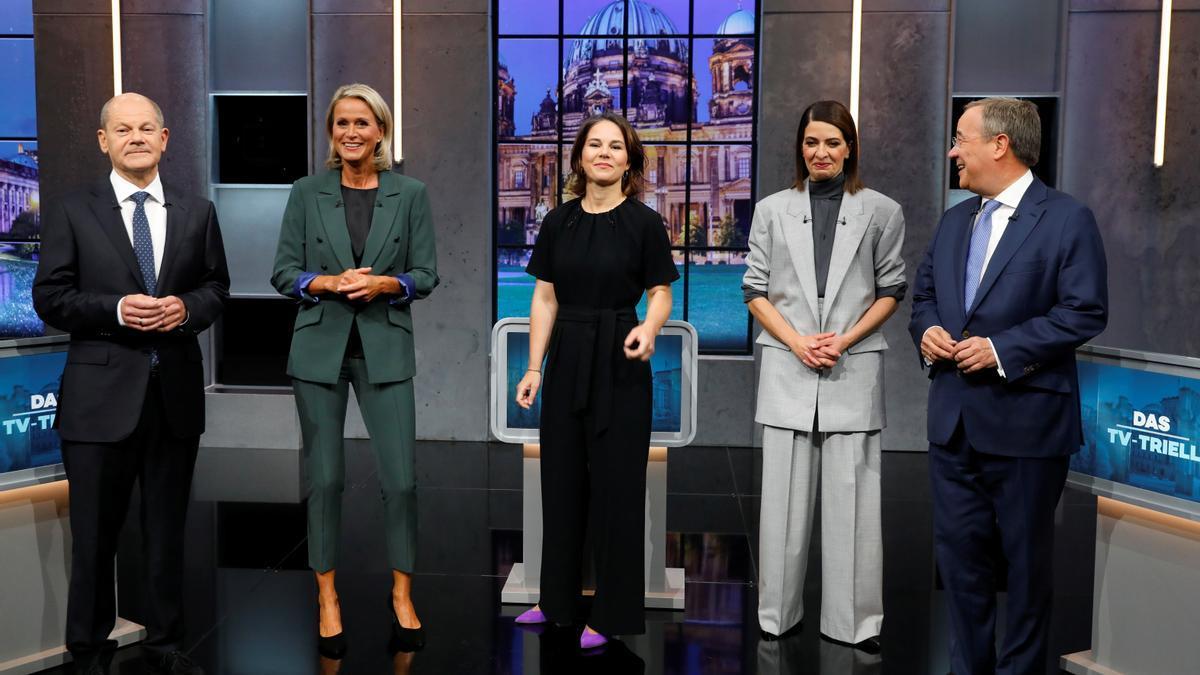 Imágenes del debate electoral alemán