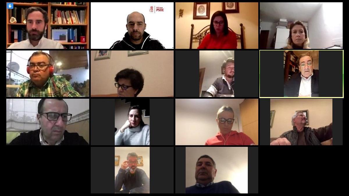 Numerosos miembros del PSOE malagueño, durante una reunión por videoconferencia.