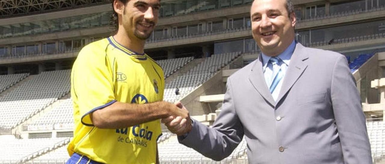 Marcos Márquez el día de su presentación en el Estadio de Gran Canaria.